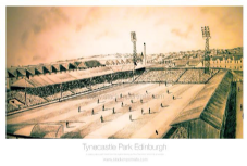 Hearts Tynecastle Park Pencil Drawing  A3 Framed  print